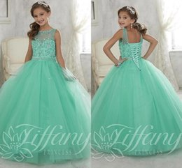 Wholesale Pageant Dresses Lace Up Back - New Little Girls Pageant Dresses 2017 Mint Green Tulle Beaded Crystals Lace-up Back Flower Girls Birthday Princess Kids Gown