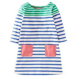 Одежда для девочек европы онлайн-Европа мода полосатый дети платья осень с длинным рукавом платье партии американский стиль девушки платье одежда с карманом