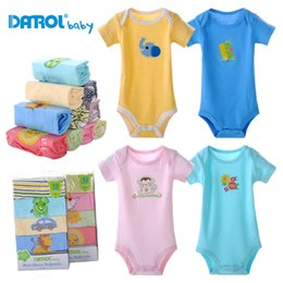 Wholesale Baby Autumn Winter Cotton Bodysuit - 5 pieces lot 2017 new housing short sleeve clothing set baby boy and girl bodysuit DR0012