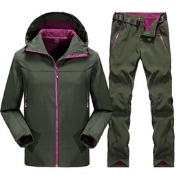 Wholesale Hiking Apparel - Outdoor men Hiking Soft Shell Jacket +fleece pant male Hiking suits Waterproof Breathable Warm Fleece camping Apparel
