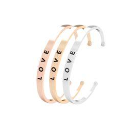 Wholesale lettering bracelet - 3 Colors Unique Lettering Love Open Elegant Bracelet Bangle Fashion Rose Gold Color Bracelets & Bangles For Women Jewelry Gift G1079