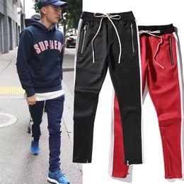 Wholesale Full God - fashion Europe Fear Of God 18ss Collection FOG Justin Bieber side zipper casual split sweatpants men hiphop jogger pants