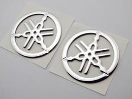 Wholesale Yamaha Tank Stickers - 2pc 50mm Tuning Fork Tank Fairing Emblem Decal Sticker For Yamaha 3D Racing Moto