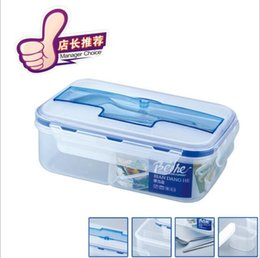 Wholesale Rectangular Plastic Box - Bento Box Simple Plastic Rectangular With Large Capacity Bentos Boxes Microwave Oven Heating Thermal Insulation Sealing Lunch Case YYA130