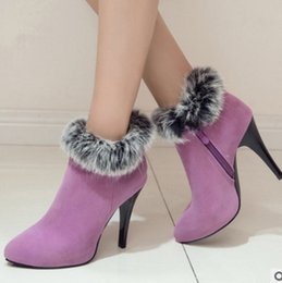 Wholesale Stiletto Heel Fur Boots - Sexy Women Boots High Heels Ankle Boots Shoes Women Pointed Toe Ladies Boots Snow Fur Zip White Red Big Size 10 11 44 45