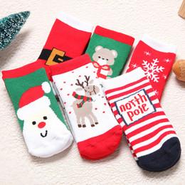 Wholesale Deer Belt - Christmas Kids Warm Anti Slipper Socks Snowflake Deer Santa Claus Bear Belt Striped Printed Cotton Baby Xmas Gift Kawaii Jacquard Socks