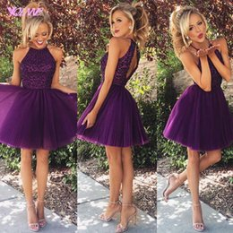 Wholesale Pink Aline Homecoming Dress - New Short Mini Purple Homecoming Dresses Halter Crystals Beading Tulle Pleats Aline Party Dress Custom Made