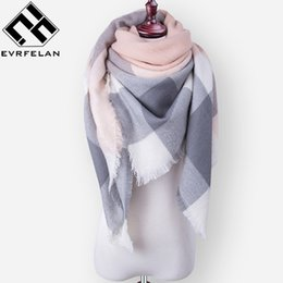 Wholesale Square Lace Scarves - Wholesale-Za Fashion Brand Winter Scarf For Women Scarf Female Plaid Cashmere Scarf Women Warm Square Shawl and Scarves Wholesale Retail