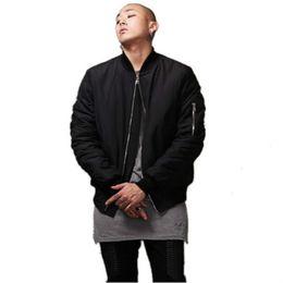 Wholesale Mens S Fashion Jacket - Fashion Military Style Mens Black Bomber Jacket Hi-Street Flight Jacket Slim Fit Hip Hop Varsity Letterman Jacket For Man