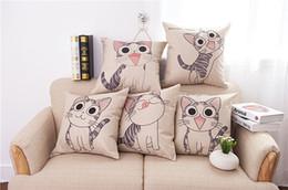 Wholesale Children Cushion Cover Cartoon - High Quality Cat Cartoon Cushion Floral Printed Linen Cover For Soft Throw Pillow Case Chair Seat Pillowcases Children Gift