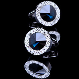 Wholesale Tie Set Price - High quality men shirt cufflinks Australia blue crystal cufflink factory direct price wholesales 2 pcs one lot