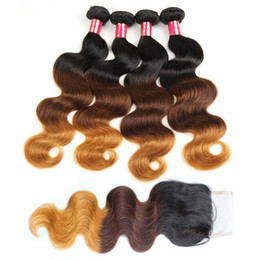 Wholesale High Quality Remy Hair Wholesalers - Ombre Hair Bundles With Lace Closure Body Wave T1b 4 27 9A High Quality Brazilian Peruvian Malaysian Indian Remy Human Hair