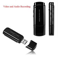 Wholesale Brand New Camera Flash - Wholesale-Brand New USB Disk DVR Super Voice Recorder With Camera Audio&Video Recording USB Flash Drive Black White Color Pen Drive