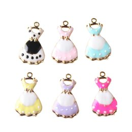 Wholesale Enamal Jewelry - ewelry babies Lovely 14*24mm Princess Dress Evening Party Dressing Shape Drop Oil Enamal Jewelry Alloy Charms With Knot Bows Decoration 5...