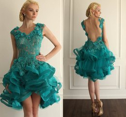 Wholesale Turquoise Coral Prom Dress - Organza Ball Gown Tulle Turquoise Homecoming Dresses Blue Open Back V Neck Body Nude Covered Ruffles Tiers 2017 Prom Dresses for Cocktail