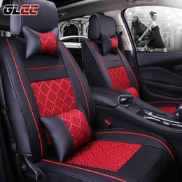 fundas de asientos de lujo Rebajas Nuevo estilo de cuero de lujo de la PU FrontRear Cubiertas de asiento de coche conjunto completo Universal Fit 5 asientos de automóviles Funda de asiento 3 colores