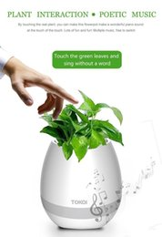 Wholesale Free Office Music - Free DHL Smart Mini Flower Pot Plastic Bluetooth Speaker with LED Multiple Colors Decoration Home Smart Plant Office Mp3 Music Player
