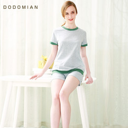 Wholesale Woman Home Wear Pajamas - Wholesale- New Fashion Women Summer Pajamas Sets Solid Female Sleepwears Suits Short Sleeve Home Wear Nightwears For Ladies size M L XL