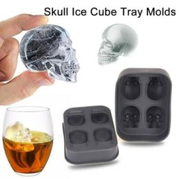 Wholesale Shape Silicone Chocolate - Skull Shape 3D Ice Cube Mold Maker Bar Party Silicone Trays Halloween Mould Gift Chocolate Decorating Candy Pastry Mould CCA7339 80pcs
