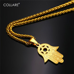 Wholesale Eastern Star Necklace - Collare Fatima Hamsa Hand Pendant Gold Color Stainless Steel Jewelry Magen David Star Accessories Ethnic Turkey Necklace P291