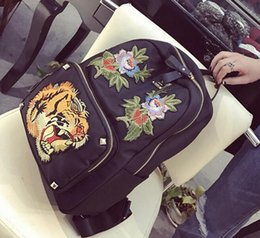 Wholesale Outlet Handbags - outlet handbag new Europe and the United States fan tiger embroidery embroidery Oxford backpack travel steller backpack backpack individuali