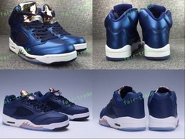 Wholesale Mens High Top Tennis Shoes - 2017 Release Retro 5 Low Olympic Bronze Coin Blue Womens Mens Basketball Shoes High Top Quality Genuine Leather 5s Air Retro Sneakers 5.5-13