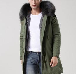 Wholesale Cotton Lined Coats - Men parka Grey fur MR MRS Itlay grey rabbit fur lined army green canvas parka MR MRS furs snow warm coats