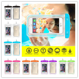 Wholesale Soccer Phone Covers - 2017 Universal Clear Waterproof bag for mobile phone Luminous Water Proof Bag Underwater Cover suitable for all mobile phone 6 inches