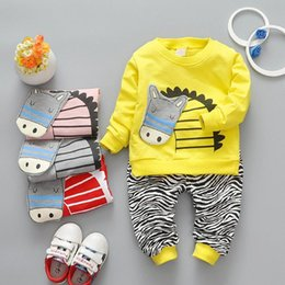 Wholesale Style Kids Outfits - 5 Colors Kids Boys Cartoon Sets 2017 Baby Boy Full Sleeve T-shirts + pants 2pcs Outfits Boys Zebra Print Suits Children Outwear Clothing