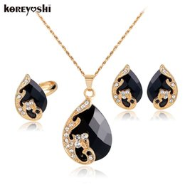 Wholesale Coloured Wedding Jewelry Sets - jewelry sets High-grade 5 colour crystal peacock fine red jewelry sets bride wedding necklace ohrringe set parure bijoux femme