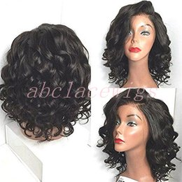 Wholesale Synthetic Black Bob Wig - Fashion Synthetic Lace Front Wig Fashion Short Wave Wigs Natural Black Heat Resistant Glueless Lace Front Bob Wigs For Black Women