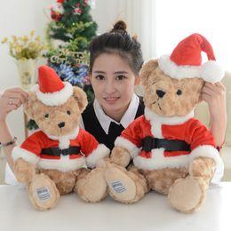 Wholesale Doll Santa Hats - 25-45cm Drop Shipping Cute Father Christmas Bear Plush Toys Christmas Hat Bear Cloth Doll Santa Claus Stuffed plush kids toys