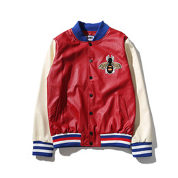 Wholesale Printed Bomber - Blind for Love Embroidery Leather Bomber Jacket Men Women 2017 Autumn Streetwear Color Block Men's Jackets Baseball Jacket 6501PG