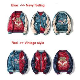 Wholesale Men S Red Jackets - Top!!! Two Side Wear Luxury Satin Embroidered Baseball Jacket Women Men Streetwear Jacket Outwear Blue Red Bomber Jacket S-2XL