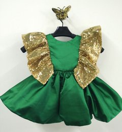 Wholesale Golden Pageant Girl Dress - 2017 Cute Scoop Neckline Green Golden Girls pageant dresses Sleeveless A line Girl Dresses with bow