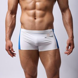 Wholesale Mens Stretch Briefs - Wholesale- Womail 2017 new Sexy Men's Boxer Briefs Swimming Swim Shorts Trunks mens Patchwork stretch breathable swimming trunks