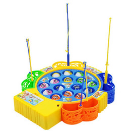 Wholesale Magnetic Rotating Fishing Game - Wholesale-New DIY Funny Fishing Toy Electric Rotating Magnetic Magnet Fish Fishing for Kid Children Educational Toy Game