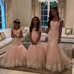 Wholesale champange lace dress - 2017 Champange and Ivory Lace Mermaid Flower Girl Dresses for Weddings First Communion Dresses for Kids Wedding Party Gowns
