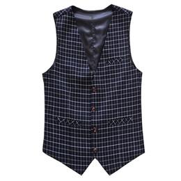 Wholesale New Style Professional Dresses - Wholesale- New Fashion Style Men's Vests Professional Dress Little Gentleman Plaid Suit Vest Men Casual Slim Fit Mens Outerwear Vests M-6