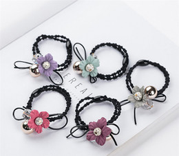 Wholesale Diamond Head Bands - 20 Pcs   Lot 2017 Fashion Bow tie Woman Hair Jewelry Diamond Flowers Rubber Band Head rope For Girl Wholesale