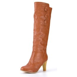 Wholesale dress for big size women - Wholesale-2016 New arrivals fashion high heel boots for women casual dress knee high boots ladies snow boots big size 40 41 42 43 KB164