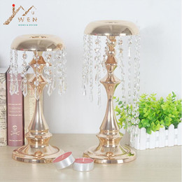 Wholesale Candles Art - Metal delicate gold plated candle holder with crystals wedding table candelabra centerpiece wind chimes type decoration candlestick
