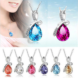 Wholesale Crystal Tear Drop Necklace - Fashion 9 colors angel's tear drop pendant necklaces austrian crystal diamonds necklace 925 silver necklace chokers jewelry for women