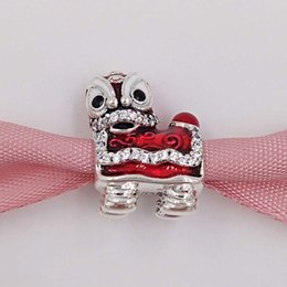 Wholesale Dance Charms Silver - Authentic 925 Sterling Silver Beads Lion Dance Silver Charm Fits European Pandora Style Jewelry Bracelets & Necklace 792043CZ lion king gif