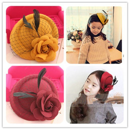 Wholesale Kid Girl Woolen Dresses - Woolen rose feather Girl hairpin kids headwear Spring Autumn Hair Bows beret Childrens clamp Accessories cap for formal dress Lovekiss A10