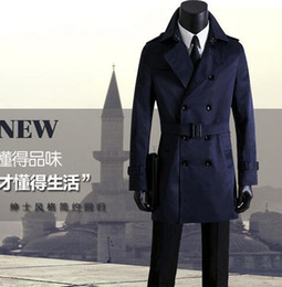 Wholesale trench coat men 4xl - Free shipping mens long coat trench mens clothing spring and autumn plus size casual double breasted slim overcoat men coat blue