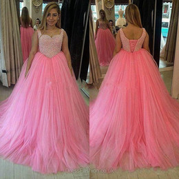 Wholesale Cheap Corset Mermaid Prom Dresses - 2017 New Pink Beaded Ball Gown Prom Dresses Corset Back Tulle Wear Sweep Train Mermaid Gorgeous Evening Gowns Cheap Formal Dress Real Image