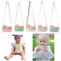 Wholesale Gray Photography - Cute Wooden Toy Camera Baby Kids Creative Neck Hanging Camera Photography Prop Decoration Children Playing House Decor Toy Gift 8 Colors