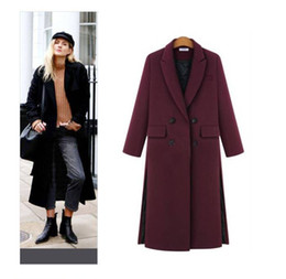 Wholesale Cashmere Overcoat Women - 2017 Women Fall   Winter Simple Notched lapel Woolen Cashmere Long Coat Nibbuns Female Overcoat Manteau femme