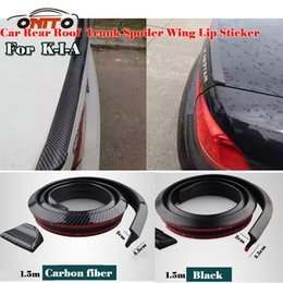 Wholesale volvo car kit - 1.5M Car decorative strips Carbon Fiber PU Car Rear Roof Spoiler Wing Lip Sticker Kit trunk tail Universal Spoiler all auto accessories